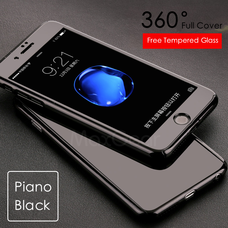 Luxury Piano Black 360 Degree Hard PC Case For Apple iPhone 5 5S SE 6 6S 7 Plus Slim Full Body Cover Capa+Glass Screen Protector - Meqstore
